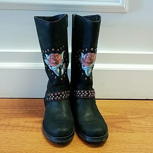 Harley- Davidson leather and crystal moto boots